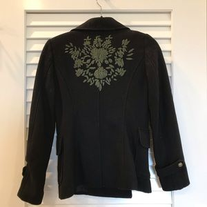 Black Pea Coat with Green Embroidery